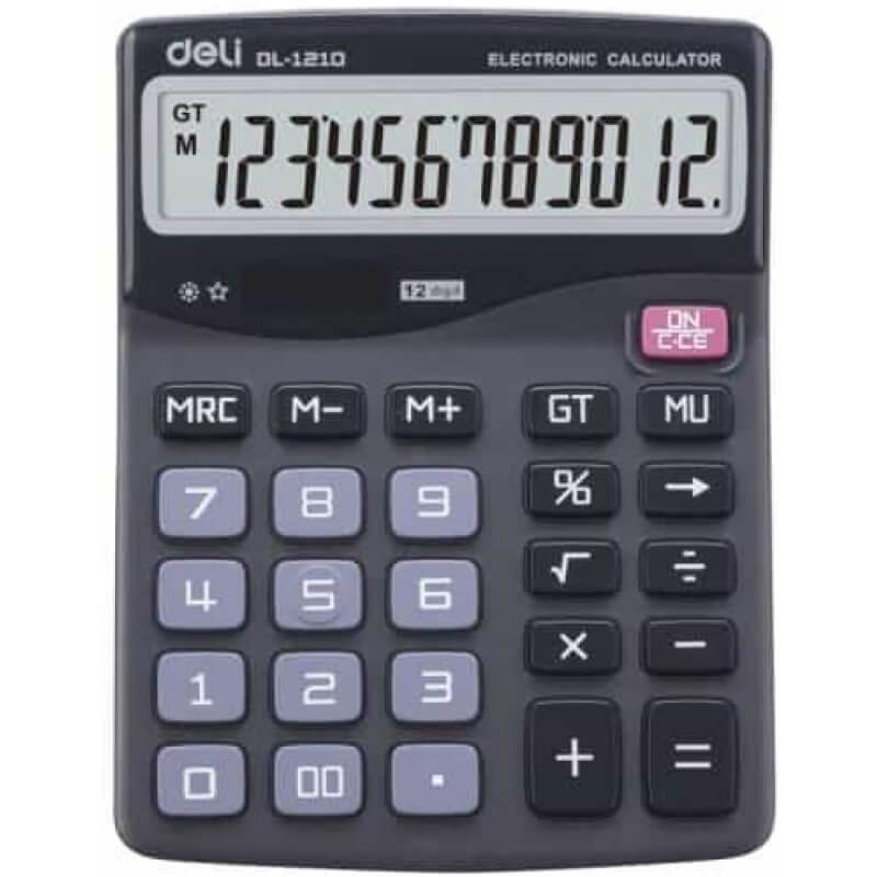 Калкулатор Deli E1210, настолен, черен