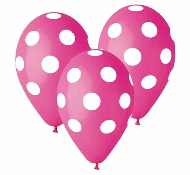 Балони Premium с точки, Розови, 5 броя