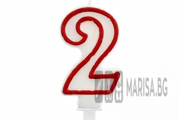 Свещи за рожден ден цифри номер 2, червена