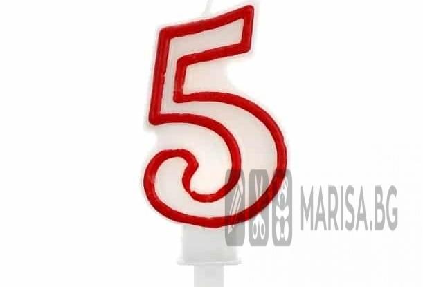 Свещи за рожден ден цифри номер 5, червена