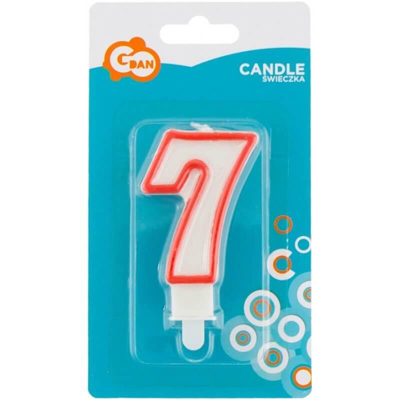 Свещи за рожден ден цифри номер 7, червена