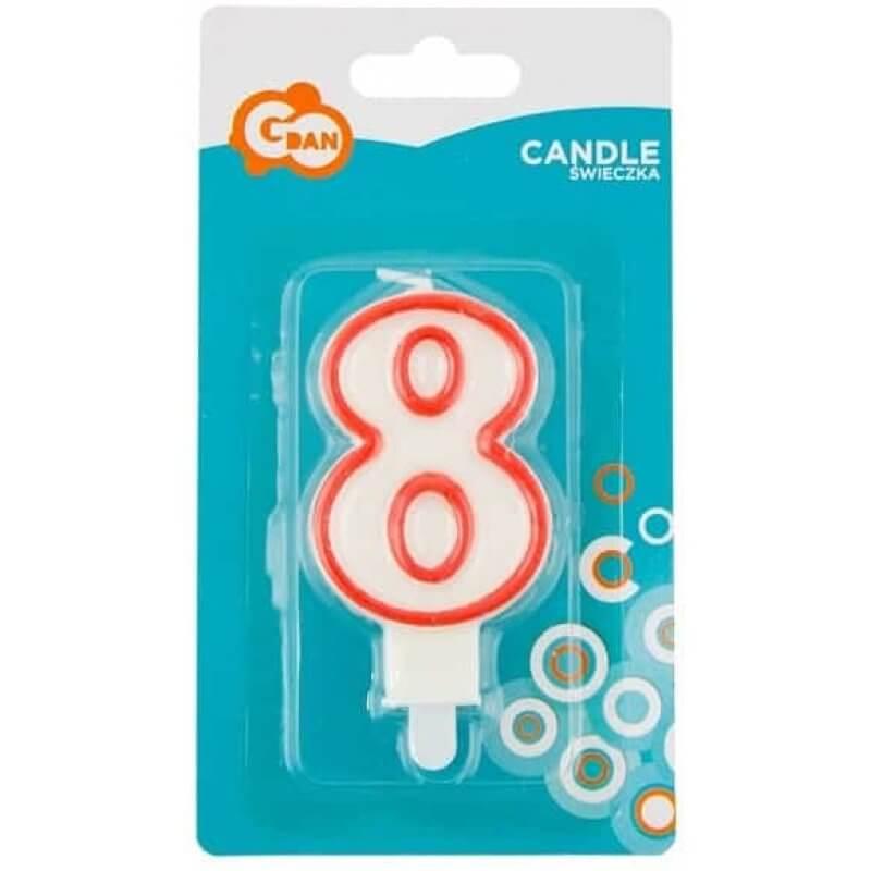 Свещи за рожден ден номер 8, червена