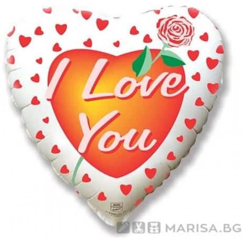 """Фолиев балон сърце с роза """"I love you"""" 45 см"""