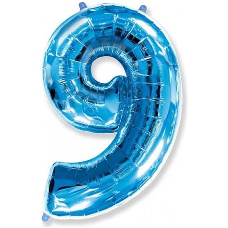 Фолиев балон Цифра 9, син, 85 см