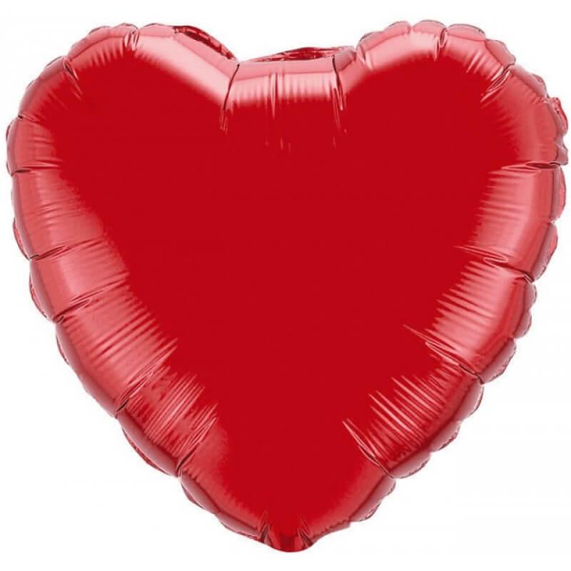 Балон сърце 45 см, фолио, червен