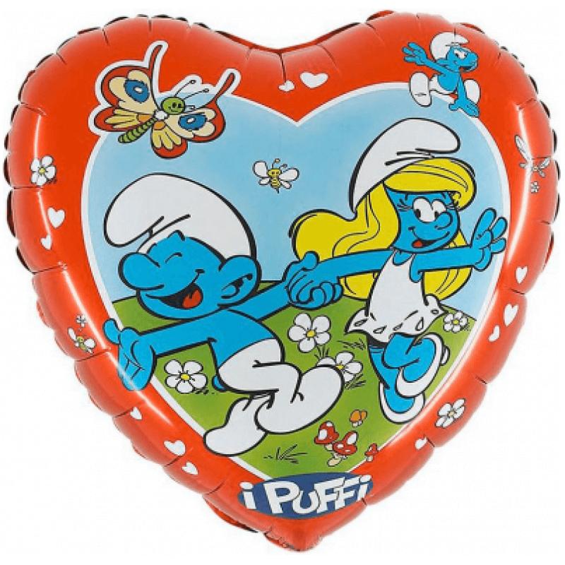 """Фолиев балон Смърфове, сърце - 21"""" / 51х 53 см"""