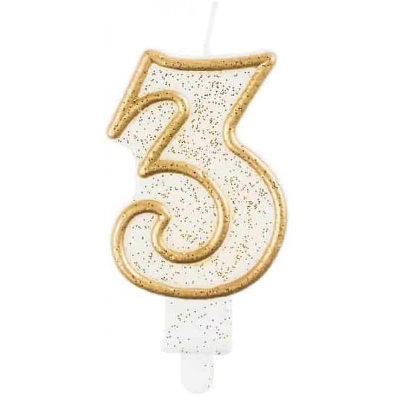 Свещи рожден ден цифра 3 години, Злато