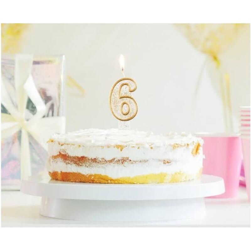 Свещи за рожден ден цифра 6 години, Злато