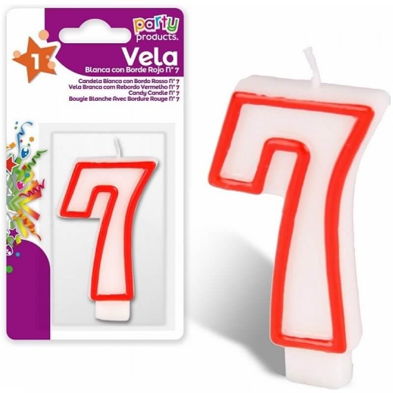 Свещ номер 7, червен кант, за рожден ден