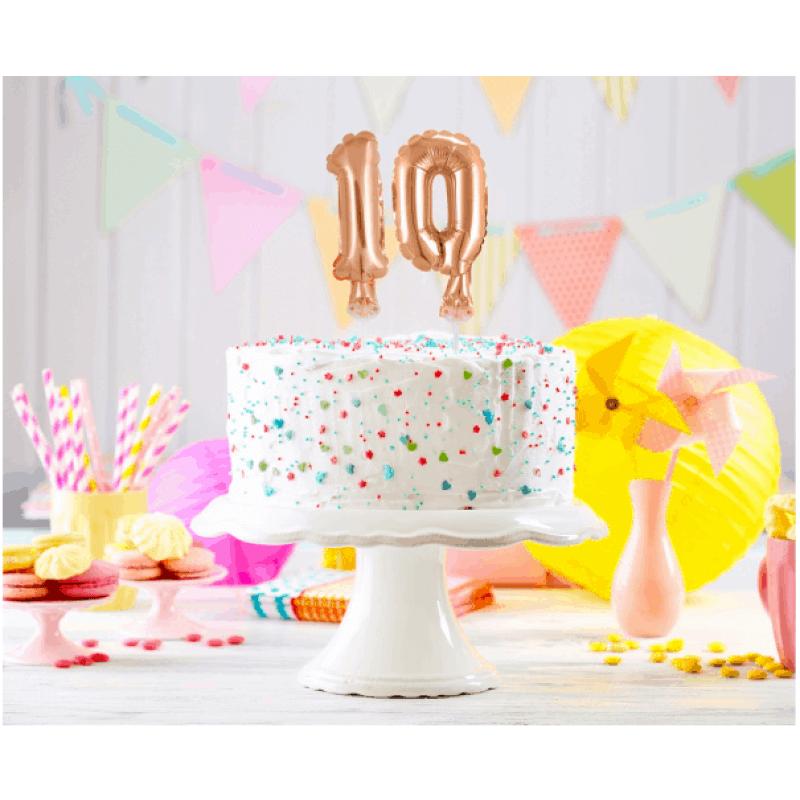 Балон фолио с пръчка Цифра 0, розово злато - Marisa.BG