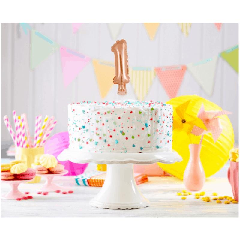 Балон фолио с пръчка Цифра 1, розово злато - Marisa.BG