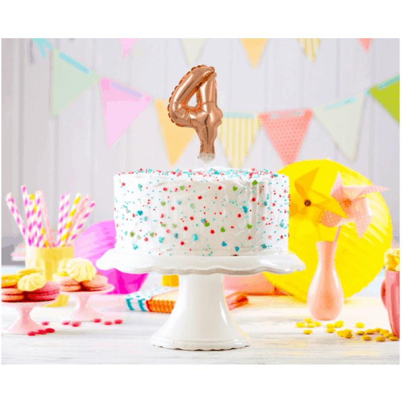 Балон фолио с пръчка Цифра 4, розово злато - Marisa.BG