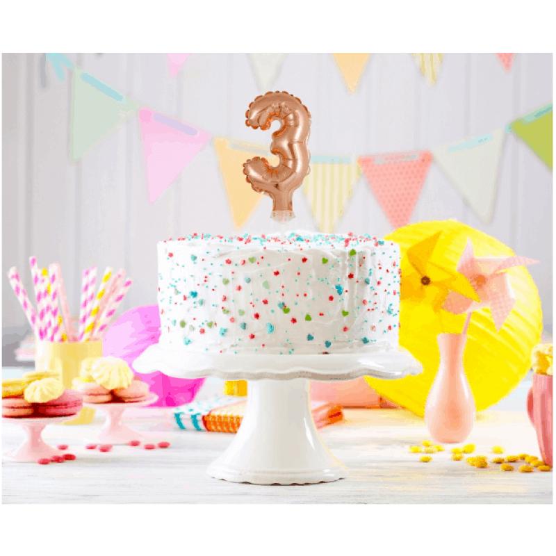 Балон фолио с пръчка Цифра 3, розово злато - Marisa.BG