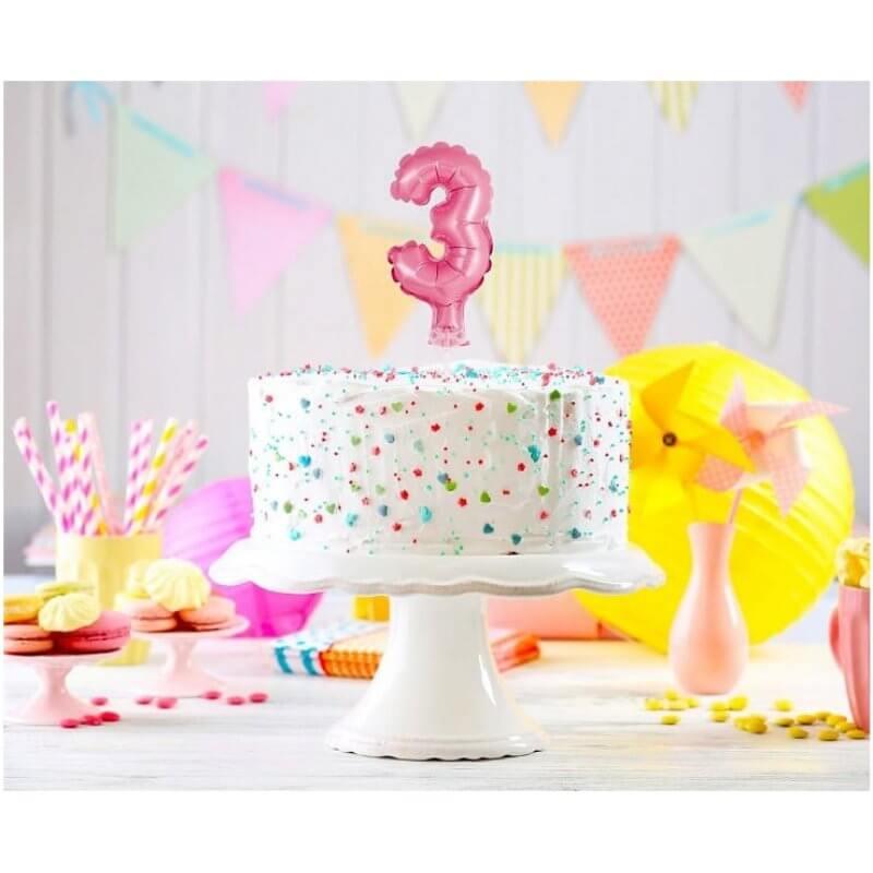 Балон фолио с пръчка Цифра 3, розов