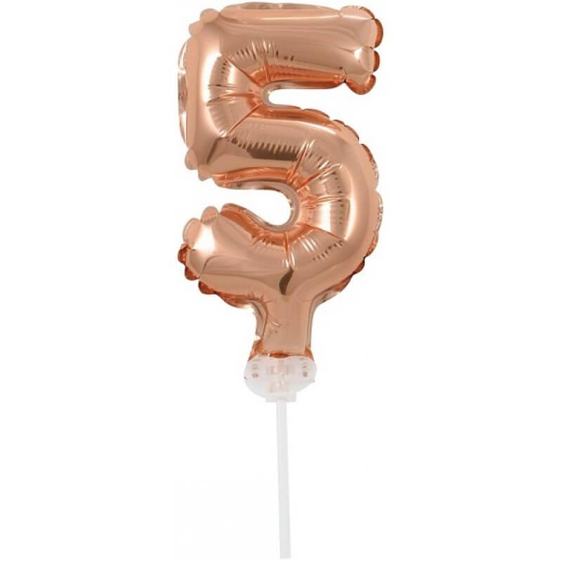 Балон фолио с пръчка Цифра 5 - розово злато