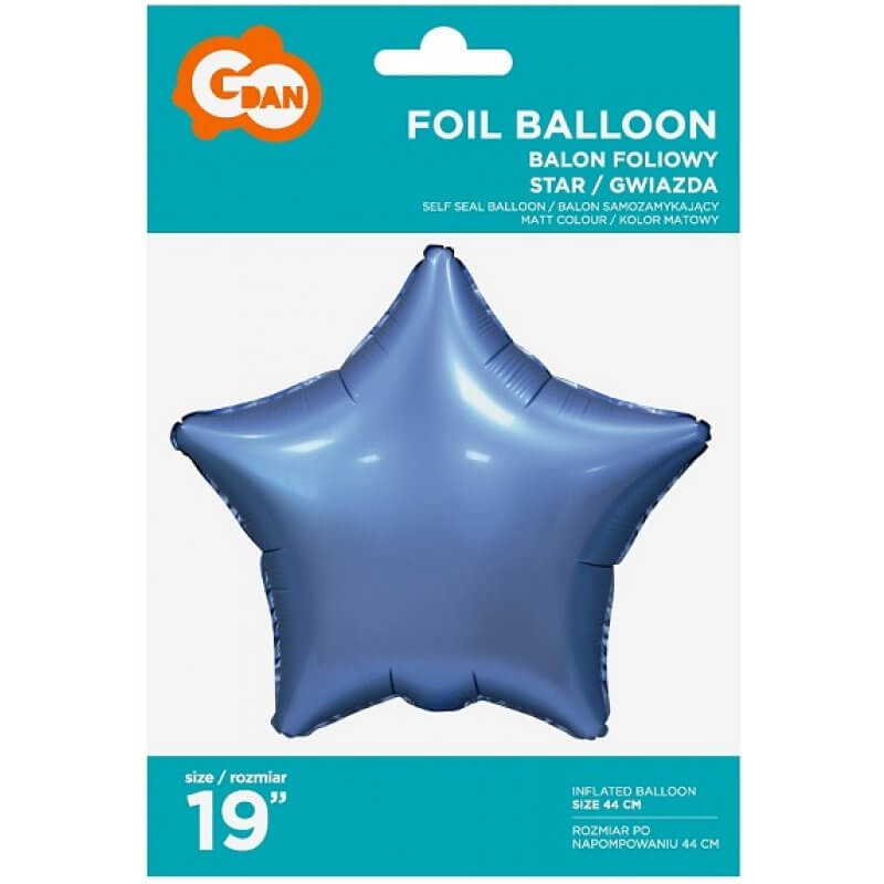 Фолиев балон Звезда, Син, мат - 46 см
