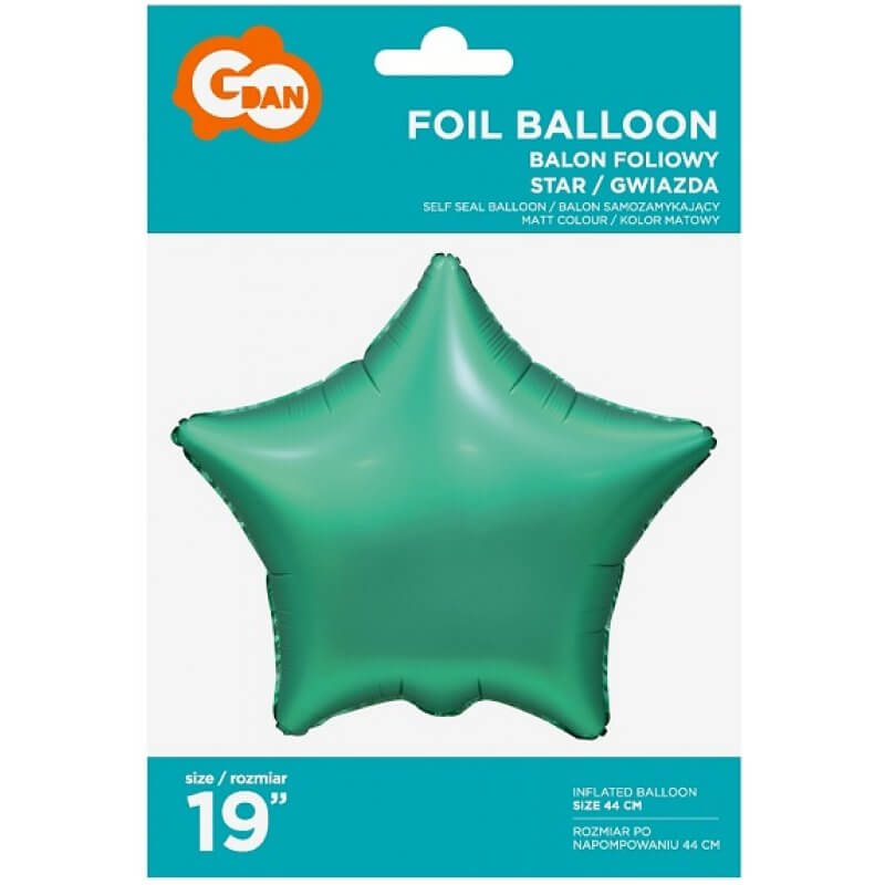 Фолиев балон Звезда, зелен, мат - 46 см
