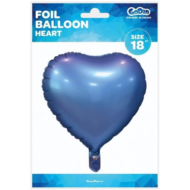 Фолиев балон Сърце - син, мат - 46 см