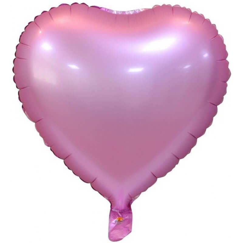 Фолиев балон Сърце -Светло Розово - 46 см