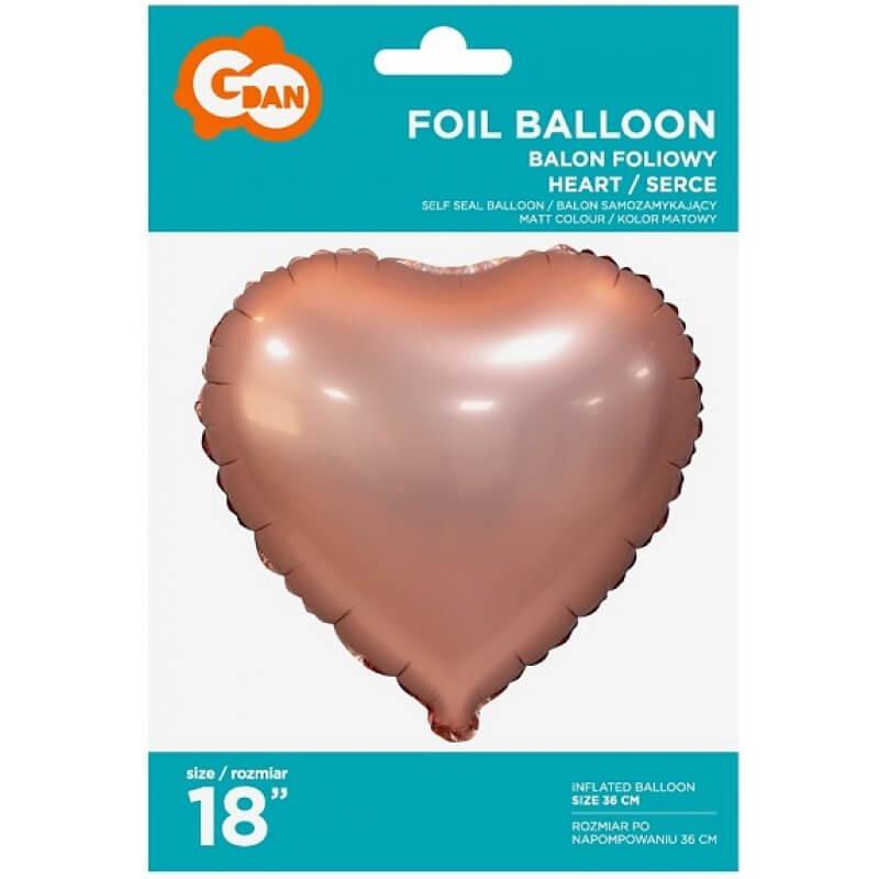 Фолиев балон Сърце - Розово злато, мат - 46 см