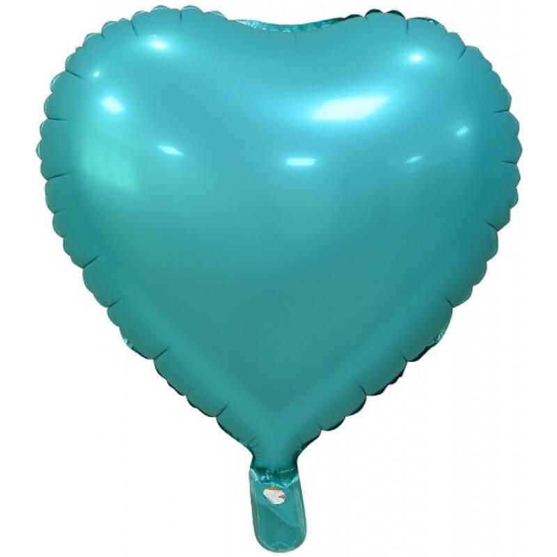 Фолиев балон Сърце - Тюркоаз, мат - 46 см