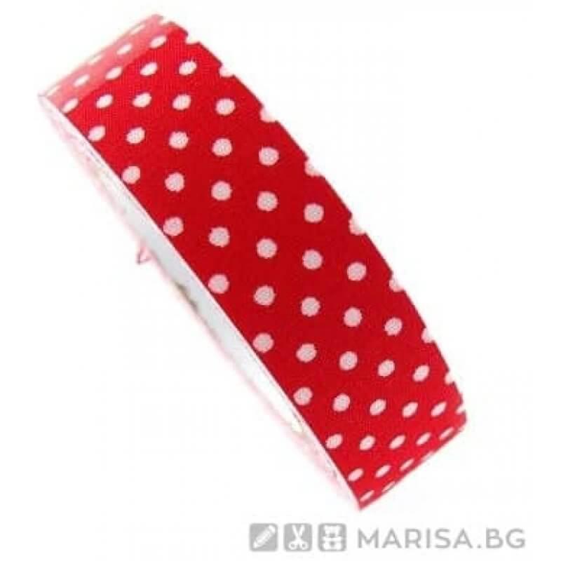 Панделка с точки 3 см / 50 ярда - Червена - Marisa.BG