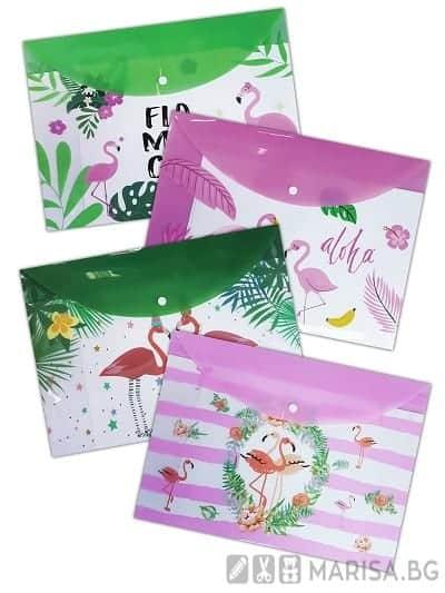Папка с копче Flamingo A4+, PP, Фламинго - 4 дизайна