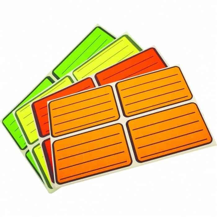 Ученически етикети за тетрадки, цветни, неон, оранжеви