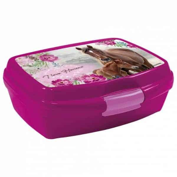 Кутия за храна Derform Коне за момиче, розова