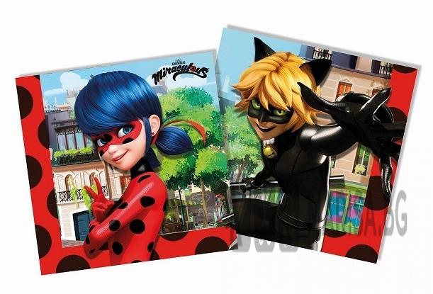 Парти салфетки Miraculous Zag Ladybug, 20 броя