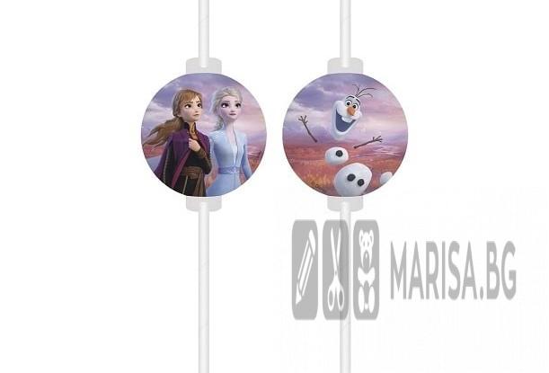 Парти сламки с медальон Frozen 2- 4 броя