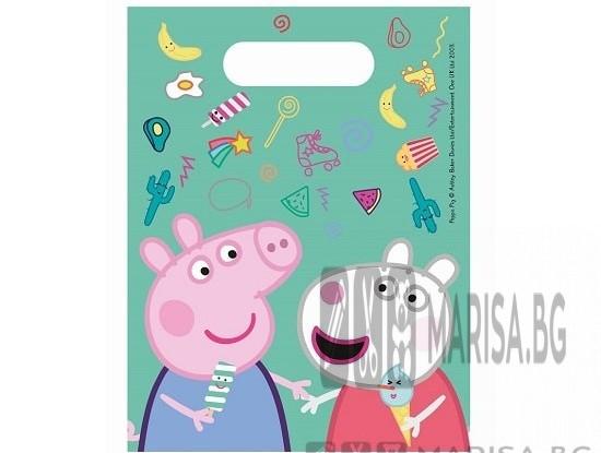 Комплектът съдържа 6 броя торбички с образа на Прасето Пепа от филма Peppa Pig.