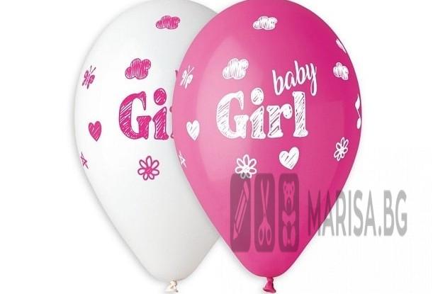 Балони Премиум Baby Girl - 5 броя, латекс