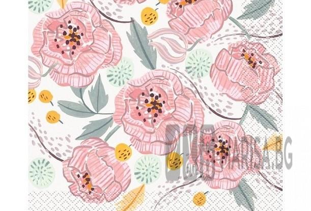 Сватбени салфетки с цветя 33x33 cm, 16 броя