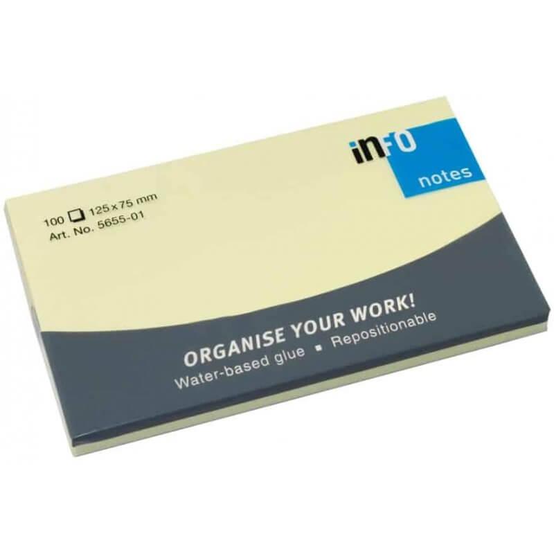 Самозалепващи листчета Info notes 125x75mm,жълти