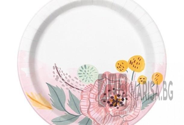 Сватбени чинии с цветя, 18 cm, 8 броя