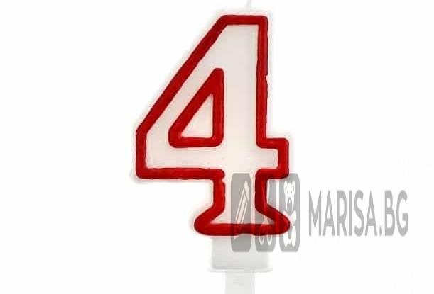 Свещи за рожден ден цифри номер 4, червена