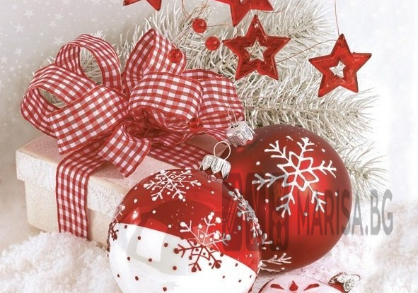 Салфетки зимна колекция Maki Red & White