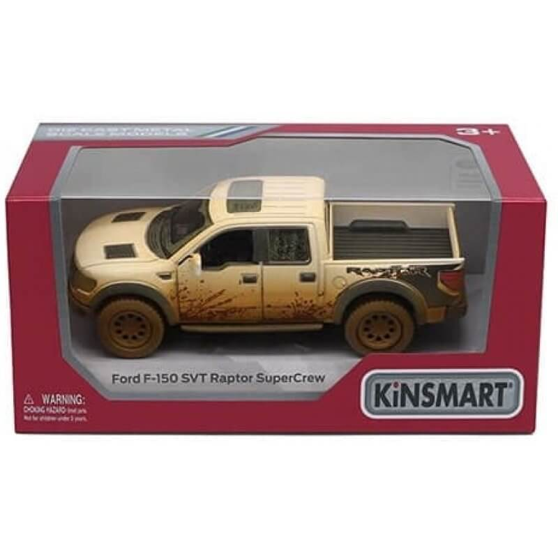 Метална количка Kinsmart Ford F-150 SVT Raptor SuperCrew (Muddy)