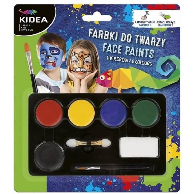 Бои за лице и тяло 6 цвята с апликатор и четка