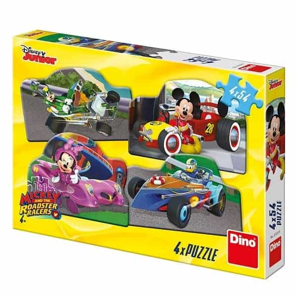 Детски пъзел Dino MICKEY AND MINNIE THE RACE - 4 х 54 eлемента