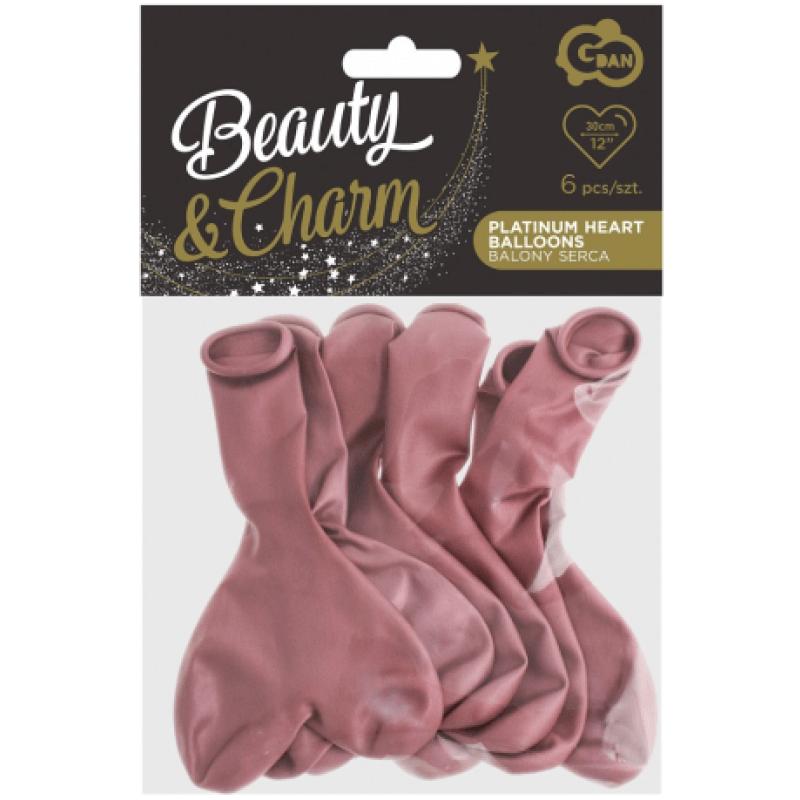 "Балони Beauty & Charm, платинено розови сърца 12 ""/ 6 бр."