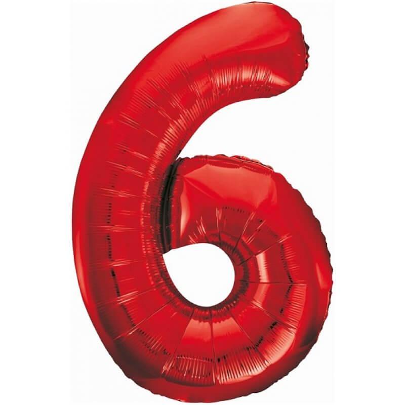 Балон фолио Цифра 6, червен - 85 см
