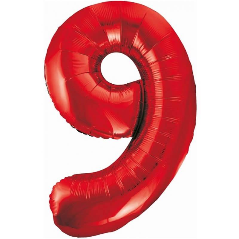 Балон фолио Цифра 9, червен - 85 см