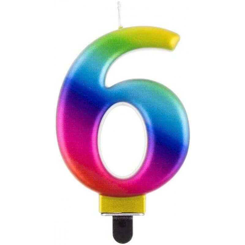 Свещ цифра 6, дъга, Galaxy, 8 cm