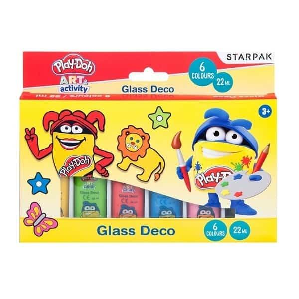 Комплектът Play-Doh витражни бои за стъкло, 6 цвята