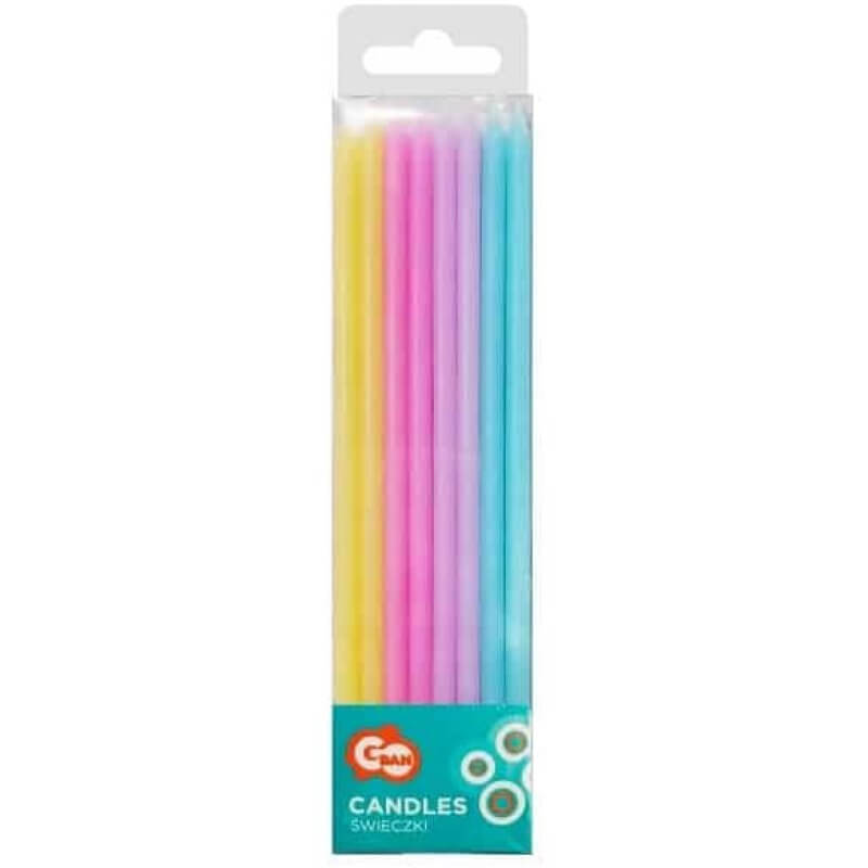Свещи за торта, пастелни цветове, микс, 16 броя
