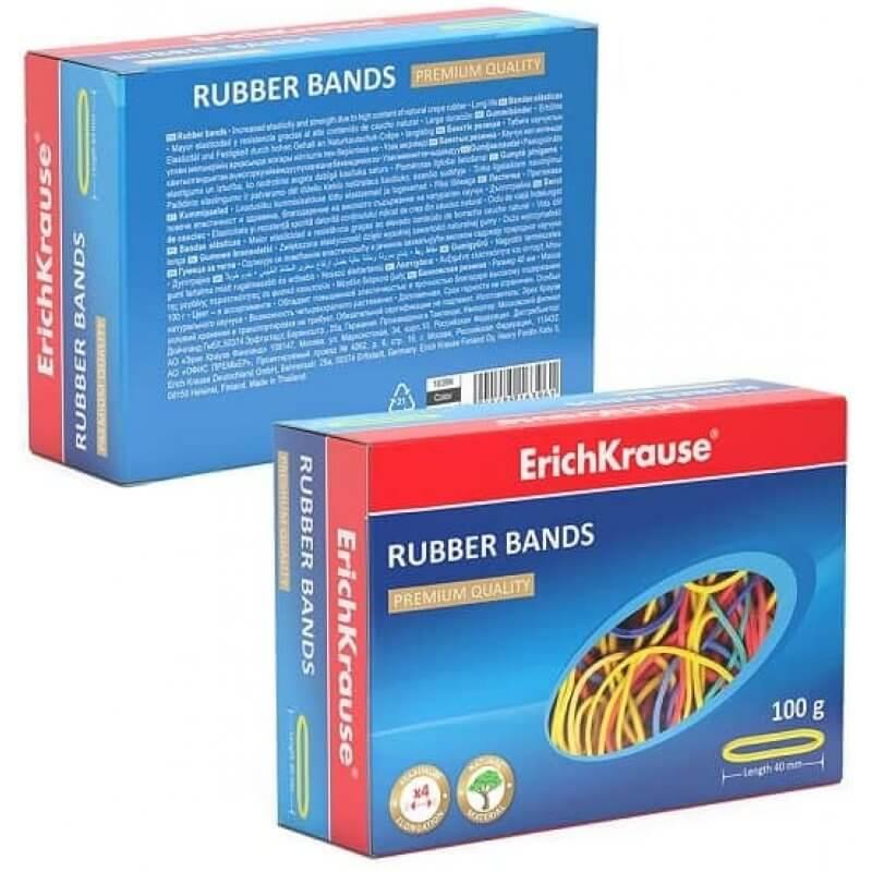 Цветни ластици ErichKrause, ф 40 мм, 100 грама, микс - Marisa.BG
