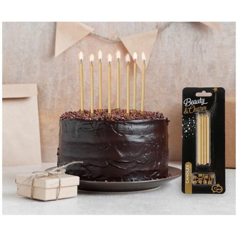 Свещи за рожден ден с поставки, злато, 10 cm, 8 бр.
