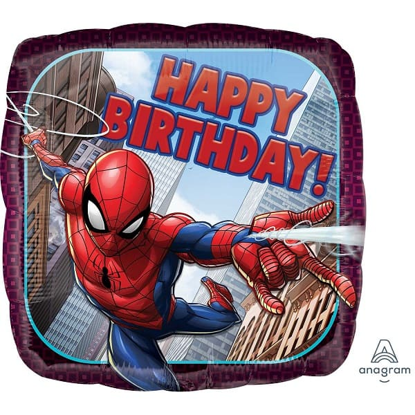 Балон Spider-Man Happy Birthday, фолио, 43 см, квадрат